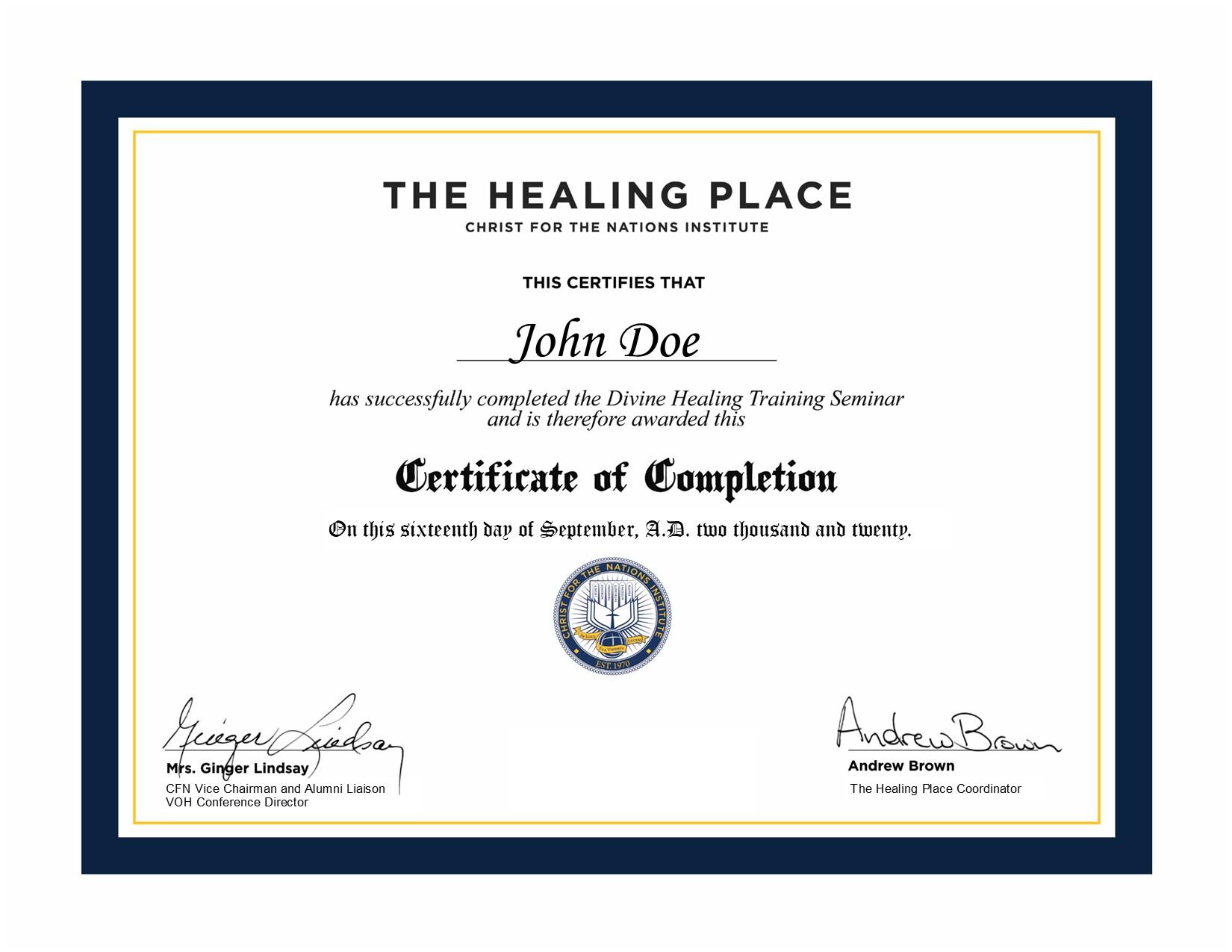 CFNI Healing Certificate